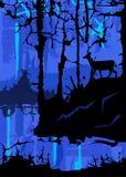 Blått mystiskt landskap Arkivbilder