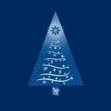 Blått och vitt julgranhälsningkort Arkivfoto