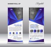 Blått rulla upp banerställningsmallen, ställningsdesignen, banermall Royaltyfria Bilder