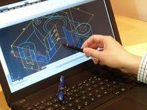Blått tryck för CAD Arkivbilder