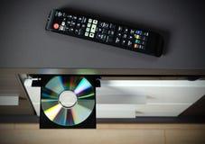 Blu-ακτίνα ή φορέας DVD με το δίσκο Στοκ Φωτογραφίες