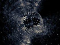 Blu astratto 3d Mesh Sphere distorto Illuminated Segno al neon Tecnologia futuristica HUD Element Estratto elegante Fotografie Stock