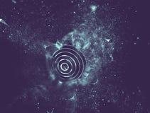 Blu astratto 3d Mesh Sphere distorto Illuminated Segno al neon Tecnologia futuristica HUD Element Estratto elegante Immagine Stock Libera da Diritti
