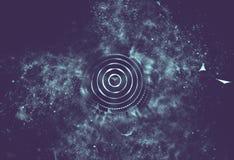 Blu astratto 3d Mesh Sphere distorto Illuminated Segno al neon Tecnologia futuristica HUD Element Estratto elegante Fotografia Stock Libera da Diritti