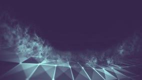 Blu astratto 3d Mesh Sphere distorto Illuminated Segno al neon Tecnologia futuristica HUD Element Estratto elegante Fotografia Stock