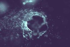 Blu astratto 3d Mesh Sphere distorto Illuminated Segno al neon Tecnologia futuristica HUD Element Estratto elegante Immagini Stock