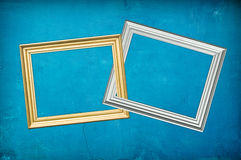 Blu background with two frames Royalty Free Stock Photography