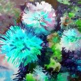 Blu bianco dei fiori del fondo di arte dell'acquerello della grande dalia variopinta del mazzo Fotografia Stock Libera da Diritti