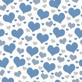 Blu, bianco e fondo di Gray Hearts Tile Pattern Repeat Immagine Stock