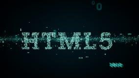 Blu binario di parole chiavi HTML5 illustrazione di stock