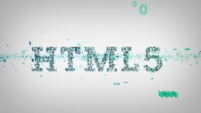 Blu binario di parole chiavi HTML5 royalty illustrazione gratis