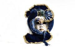 Blu con la maschera veneziana tradizionale elegante dell'oro fotografia stock libera da diritti