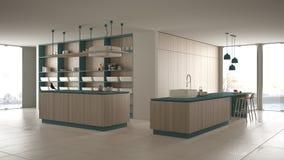 Blu costoso di lusso minimalista e fresa di legno della cucina, dell'isola, del lavandino e del gas, spazio aperto, finestra pano royalty illustrazione gratis
