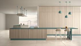 Blu costoso di lusso minimalista e fresa di legno della cucina, dell'isola, del lavandino e del gas, spazio aperto, finestra pano illustrazione di stock