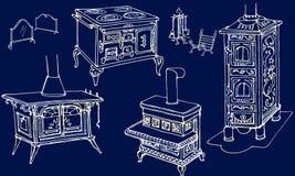 Blu d'annata dell'oro della fornace dei camini Fotografia Stock Libera da Diritti