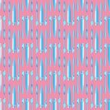 Blu del dentifricio in pasta e dello spazzolino da denti sul modello senza cuciture del fondo rosa Fotografia Stock Libera da Diritti
