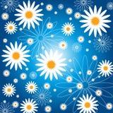 Blu del fondo del fiore del modello Immagini Stock Libere da Diritti