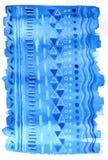 Blu del fondo dell'acquerello con il modello Immagini Stock Libere da Diritti