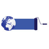 Blu del pianeta con il rullo Immagini Stock