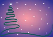 Blu dell'albero di nastro di Natale con neve Fotografie Stock