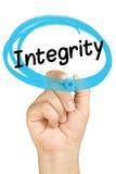 Blu dell'evidenziatore del cerchio della mano di integrità isolato Fotografia Stock Libera da Diritti