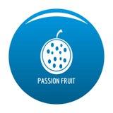 Blu dell'icona del frutto della passione illustrazione di stock