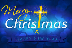 Blu della carta del buon anno e di Buon Natale Fotografie Stock Libere da Diritti
