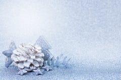 Blu della cartolina di Natale Fotografia Stock