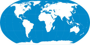 Blu della mappa di mondo Fotografie Stock Libere da Diritti