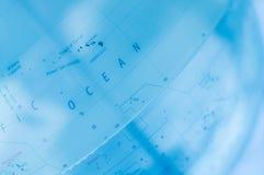 Blu della mappa di mondo   tecnologia di scienza Fotografia Stock