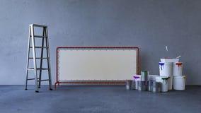 Blu della parete della pittura in una stanza vuota fotografia stock libera da diritti
