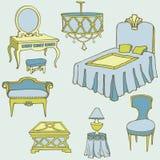 Blu di colore del letto della mobilia seconda Fotografia Stock Libera da Diritti