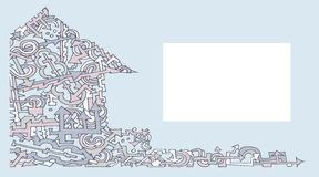 Blu di colore della casa della carta di visita della freccia due Fotografie Stock