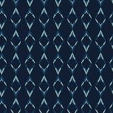 Blu di indaco Diamond Stripes Seamless Vector Pattern Tintura tirata del batik illustrazione di stock
