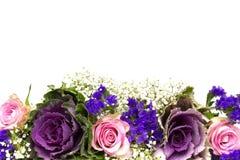 Blu 3 di rosa della decorazione del fiore Fotografia Stock Libera da Diritti