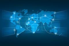 Blu di spedizione del fondo di ordine mondiale di geografia della mappa di mondo Immagine Stock