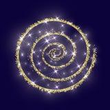 Blu dorato di struttura del nuovo anno dell'estratto di vettore del cerchio di scintillio dell'oro Fotografia Stock