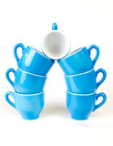 Blu e bianco della tazza di caffè Fotografie Stock Libere da Diritti