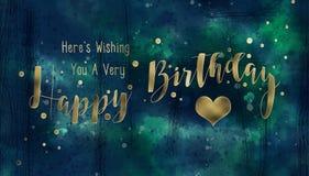 Blu e biglietto di auguri per il compleanno Grungy dell'oro royalty illustrazione gratis