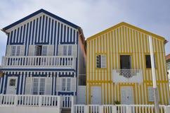 Blu e case delle bande colorate giallo Fotografia Stock