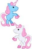 Blu e Gray Kawaii Unicorns - elevandosi su royalty illustrazione gratis