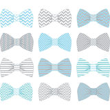 Blu e Grey Bow Tie Collection svegli Fotografia Stock