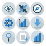 Blu e Grey Business Flat Circle Icons Immagine Stock