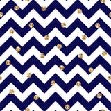 Blu ed oro Chevron e Polka Dots Seamless Pattern royalty illustrazione gratis