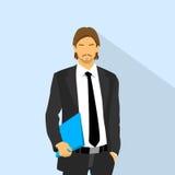 Blu elegante della tenuta del vestito di modo di usura dell'uomo d'affari illustrazione di stock