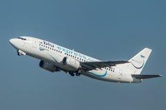 Blu Express Airline decolla Immagini Stock Libere da Diritti