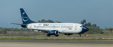 Blu Express Airline on the runway Royalty Free Stock Photo