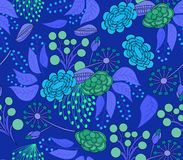 Blu floreale del modello Fotografie Stock