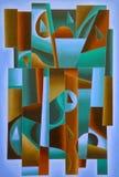 Blu geometrico di arte di Digital, verde e marrone royalty illustrazione gratis