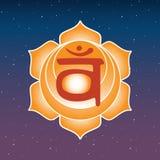 Blu indiano di hinduism di buddismo di yoga esoterica arancio di simbolo dell'icona di chakra di Svadhisthana e stella porpora de illustrazione di stock